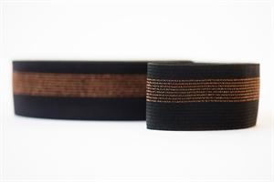 Bild von Elastisches Taillenband - Schwarz mit Kupferlinien